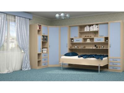 Шкаф-кровать детская в синих тонах в Новосибирске