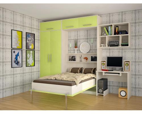 Шкаф-кровать детская в зеленых тонах