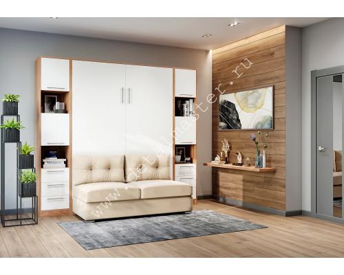 """шкаф-кровать  с диваном """"БЕЛА"""" Орех мармара+Белый"""