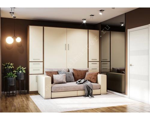 """Шкаф-кровать с диваном """"Злата"""" Бамбук + Кремовый"""